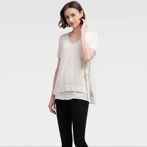 DKNY V-Neck Pullover Top With Side Ties - Ivory